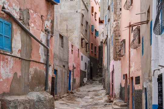 Ancient alleyway in small morrocan village