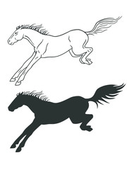 The horse jumps. The horse lands after overcoming the obstacle. Competition. The horse is a linear figure and silhouette.