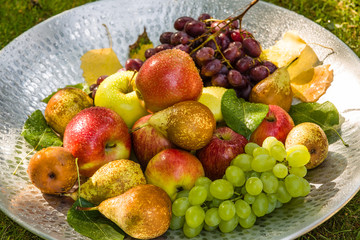 Fruit in a bowl - apples, pears and grapes