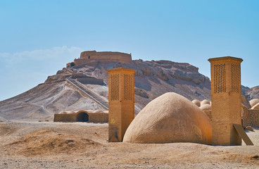 Ancient structures in desert, Yazd, Iran