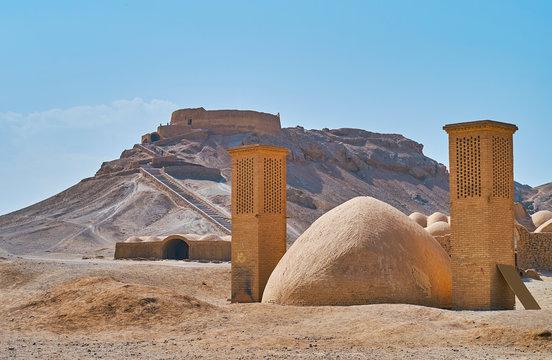 Ancient structures in desert, Yazd, Iran