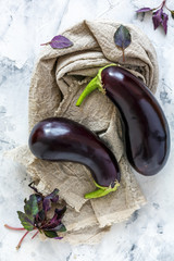 Purple eggplant and red basil.