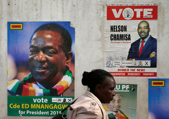 A woman walks past election posters in Harare
