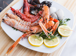 Seafood dish with langoustines, shrimps and clams