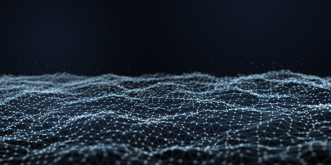Futuristic polygonal background of low poly surface with connected dots and lines. Abstract 3d rendering.
