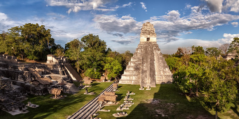 Tikal, Mayan Ruins, Main Plaza, Temple I and North Acropolis, Guatemala