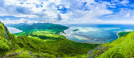Wall Mural - Aerial view of  Le Morne Brabant mountain, Mauritius island, Africa
