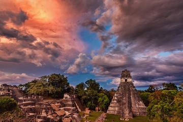 Tikal, Mayan Ruins, Main Plaza, Temple I and North Acropolis, Guatemala