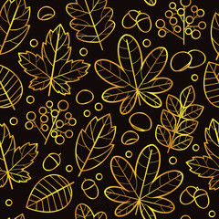 Vector seamless black and gold pattern of autumn leaves. Design of a repeat tile for printing on fabric, postcards and flyers. Line sketch floral ornament with tree leaves