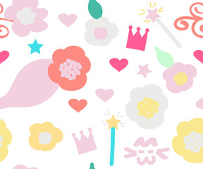 Vector seamless pattern for girls: flowers, crown, magic wand, hearts, stars. Cute texture in pastel colors