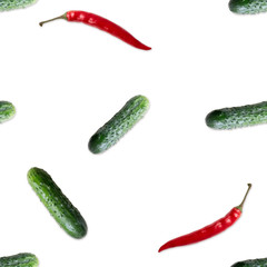 Seamless pattern with cucumber and rd  hot pepper. Vegetables abstract background. Cucumber the white background.
