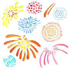 Hand drawn watercolor illustration set of isolated color stylized fireworks