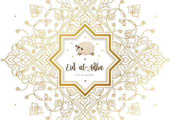 Vector muslim holiday Eid al-Adha card. Banner with sheep, golden outline frame, calligraphy for happy sacrifice celebration. Islamic illustration. Traditional holiday. Decoration in Eastern style.