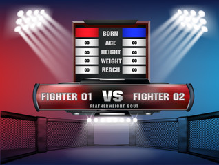 Versus screen design Announcement of two fighters Blue and red corner with lighting style.