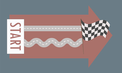 Two parallel roads straight and winding from left to right from the tablets with the word start to the finish black and white flag on a dark blue background red arrow vector illustration.