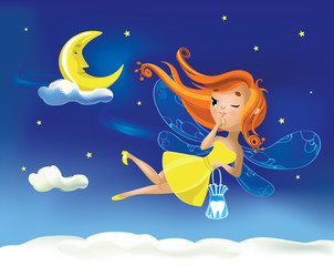 Cute cartoon fairy flies flying against the background of the starry sky and cloud