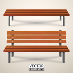 Benches set. Park wooden benches isolated. Vector