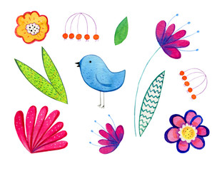 Hand drawn watercolor set of cartoon decorative flowers, plants and bird. Illustration for children prints, posters and cards