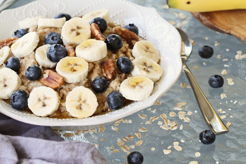 Hot Bowl of Oatmeal Bananas and Blueberries