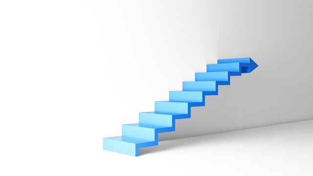 Rising arrow graph on staircase isolated on white background in empty room. Business concept. 3d illustration.