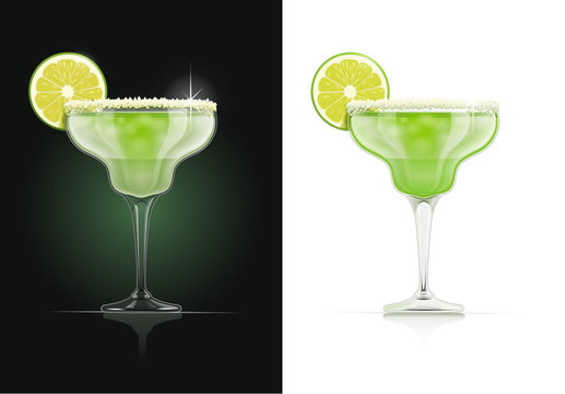 Margarita glass. Alcohol cocktail. Alcoholic classic drink