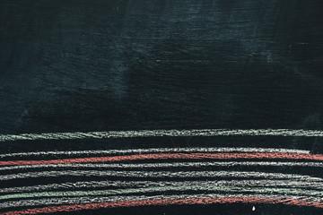 Colorful chalk striped pattern on school blackboard