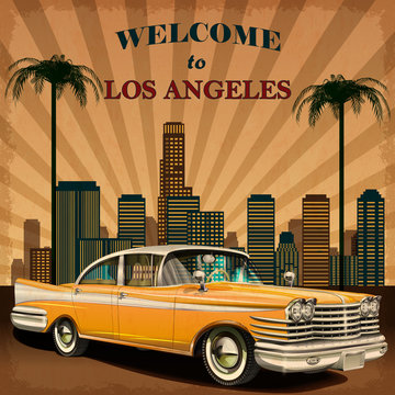 Welcome to Los Angeles retro poster.