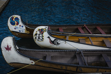 Canadian first nation canoes on water