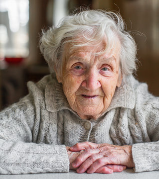 Portrait of a very old woman, retired.