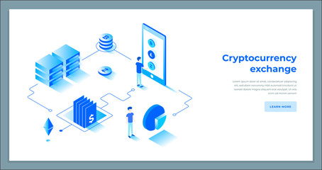 Cryptocurrency exchange and blockchain isometric composition.
