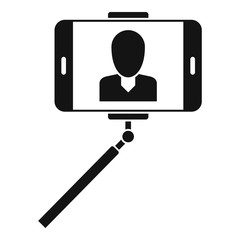 Man take selfie monopod icon. Simple illustration of man take selfie monopod vector icon for web design isolated on white background