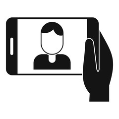 Man take a selfie phone icon. Simple illustration of man take a selfie phone vector icon for web design isolated on white background