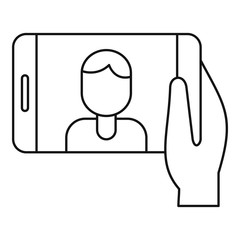 Man take selfie phone icon. Outline man take selfie phone vector icon for web design isolated on white background
