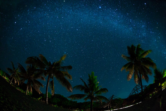Night sky over coconut palm trees on a beach, rocks, sea or ocean. The night sky with stars, meteorites, milky way and clouds. Night star photography with long exposure. Illustration of privacy.