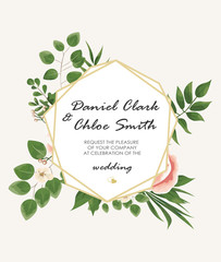 the text background with flowers peonies and Jasmine, branches of eucalyptus. Postcard, business card of florist, decorator, wedding invitation in pastel colors. Vector illustration in Botanical style