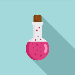 Potion pink flask icon. Flat illustration of potion pink flask vector icon for web design