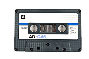 Audio cassette isolated on white background.