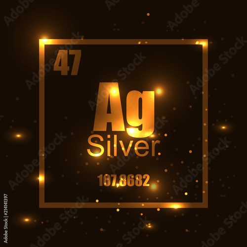 Silver Element Of The Periodic Table Gold Shine Effect Stock Image
