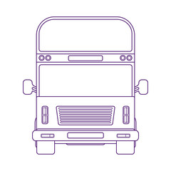Double-decker bus. Vehicle for transportation passangers. Excursion bus. Vector linear illustration.