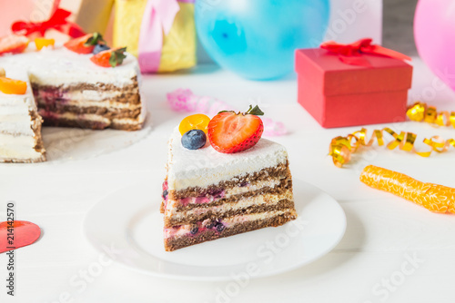 Piece Of Birthday Healthy Yougurt Cake With Fresh Strawberry And