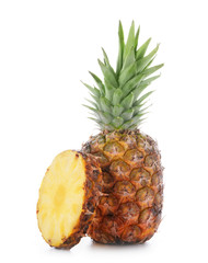 Delicious pineapple with slice on white background