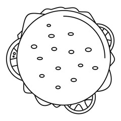 Top view cheeseburger icon. Outline top view cheeseburger vector icon for web design isolated on white background