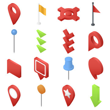Map pointer pin arrow compass icons set. Isometric illustration of 16 map pointer pin arrow compass vector icons for web