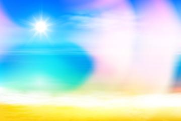 Summer beach and tropical sea with bright sun. EPS10 vector.