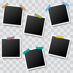 Set of realistic photo frames with adhesive tapes on transparent background. Vector