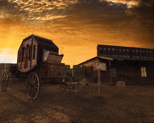 Old west 3D illustration, carriage and house at sunset