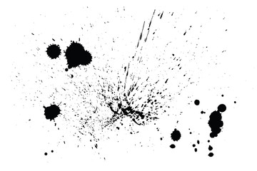 Splatter Paint Texture . Distress rough background . Black Spray Blot of Ink. Abstract vector. Hand drawn.