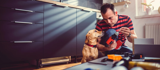 Man with dog building kitchen cabinets Wall mural