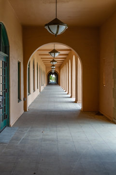 Arched Colonnade of Pink Stucco