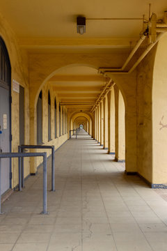 A Long Glowing Yellow Colonnade